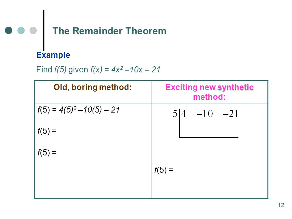 12 The Remainder Theorem Example Find f(5) given f(x) = 4x 2 –10x – 21 Old, boring method: synthetic Exciting new synthetic method: f(5) = 4(5) 2 –10(5) – 21 f(5) =