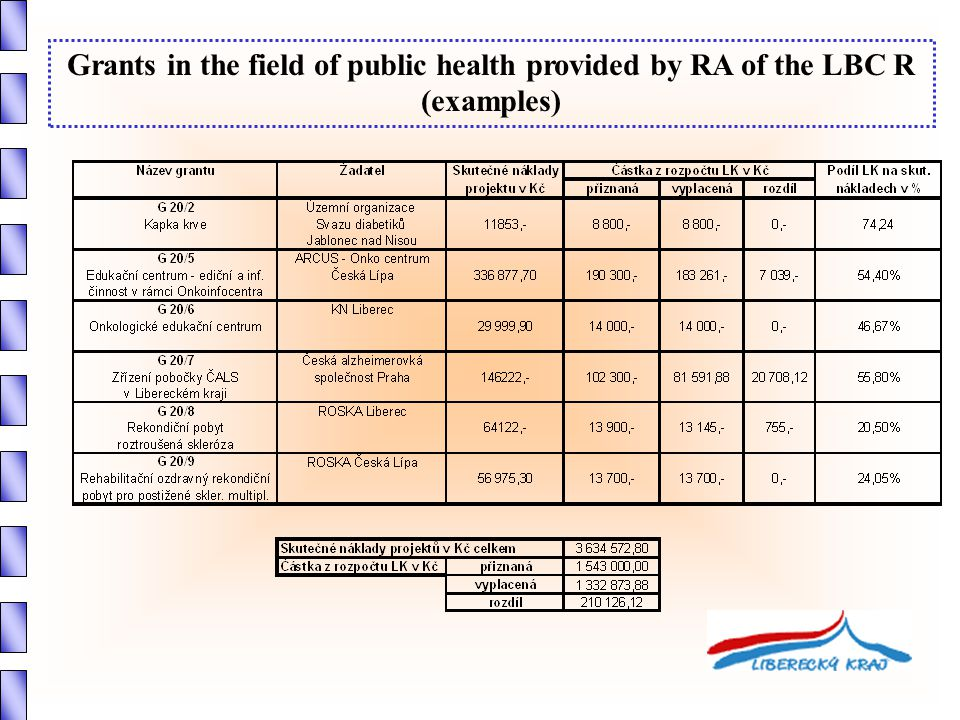 Grants in the field of public health provided by RA of the LBC R (examples)