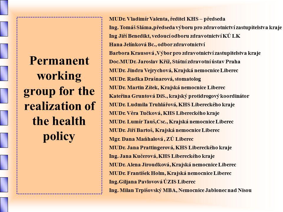 Permanent working group for the realization of the health policy MUDr. Vladimír Valenta, ředitel KHS – předseda Ing. Tomáš Sláma,předseda výboru pro z