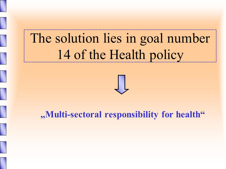 """The solution lies in goal number 14 of the Health policy """"Multi-sectoral responsibility for health"""""""