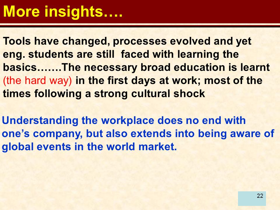 22 More insights…. Tools have changed, processes evolved and yet eng.