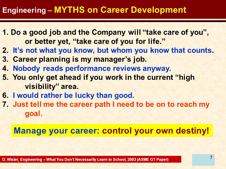 7 Engineering – MYTHS on Career Development 1.Do a good job and the Company will take care of you , or better yet, take care of you for life. 2.