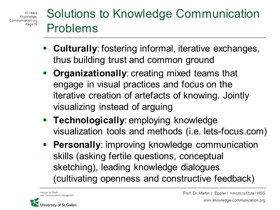 10 Years Knowledge- Communication.org Page 16 Prof.