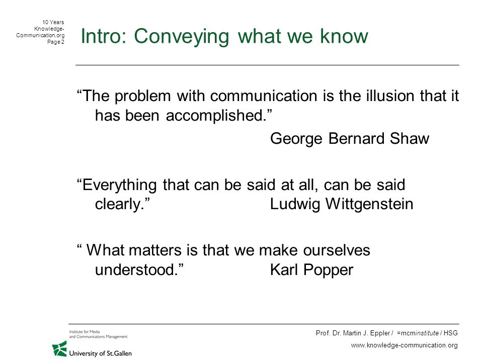 10 Years Knowledge- Communication.org Page 13 Prof.