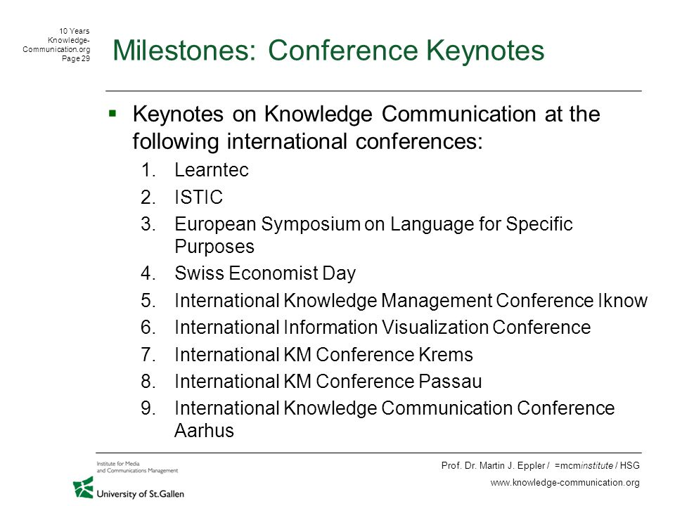10 Years Knowledge- Communication.org Page 29 Prof.