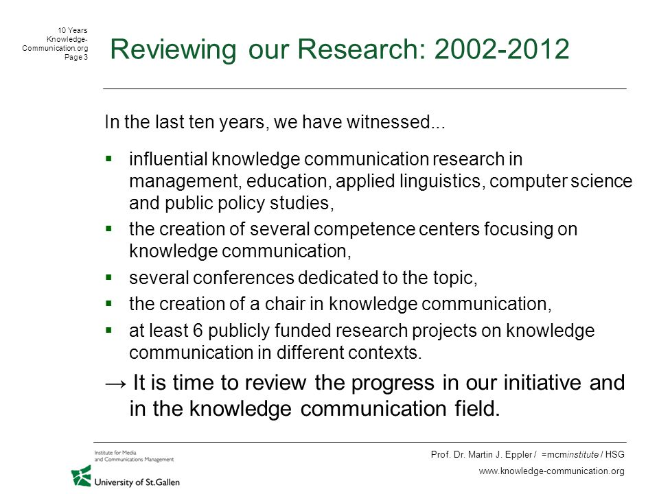10 Years Knowledge- Communication.org Page 14 Prof.