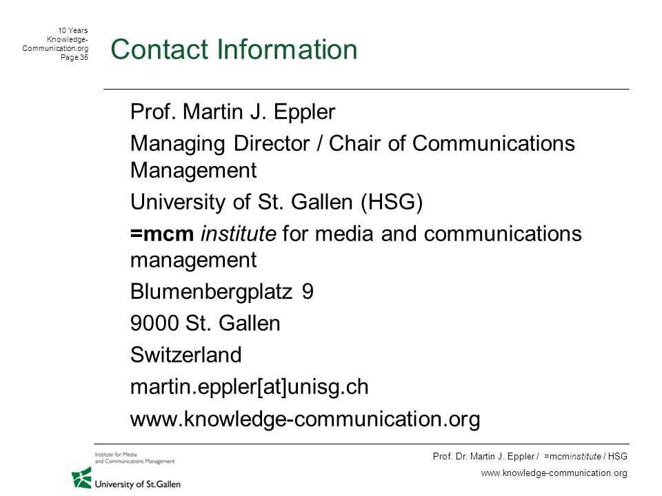 10 Years Knowledge- Communication.org Page 35 Prof.