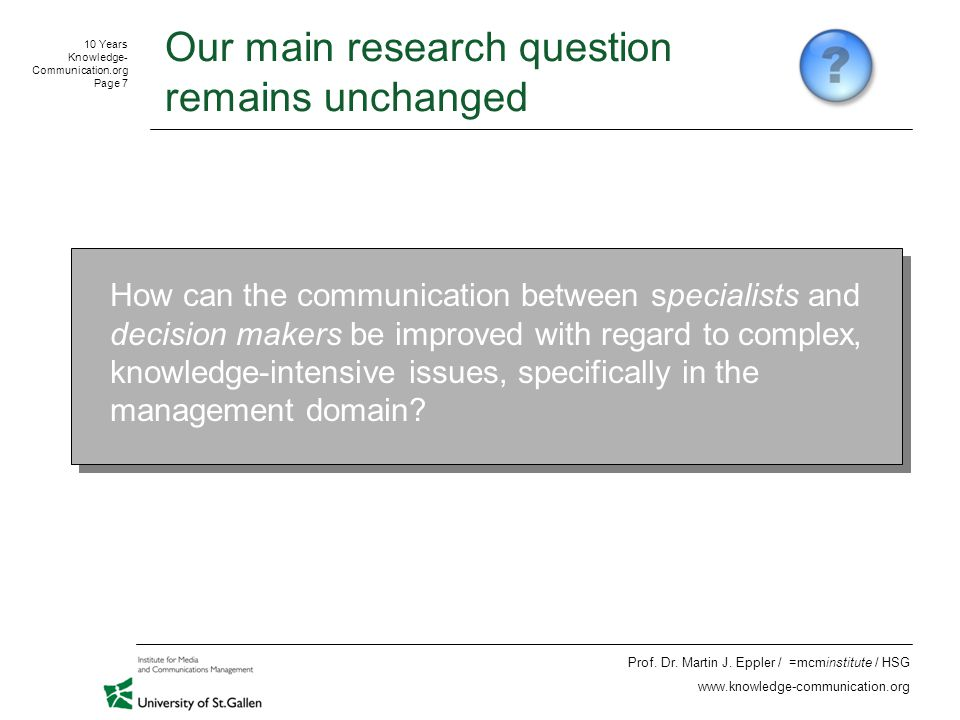 10 Years Knowledge- Communication.org Page 18 Prof.
