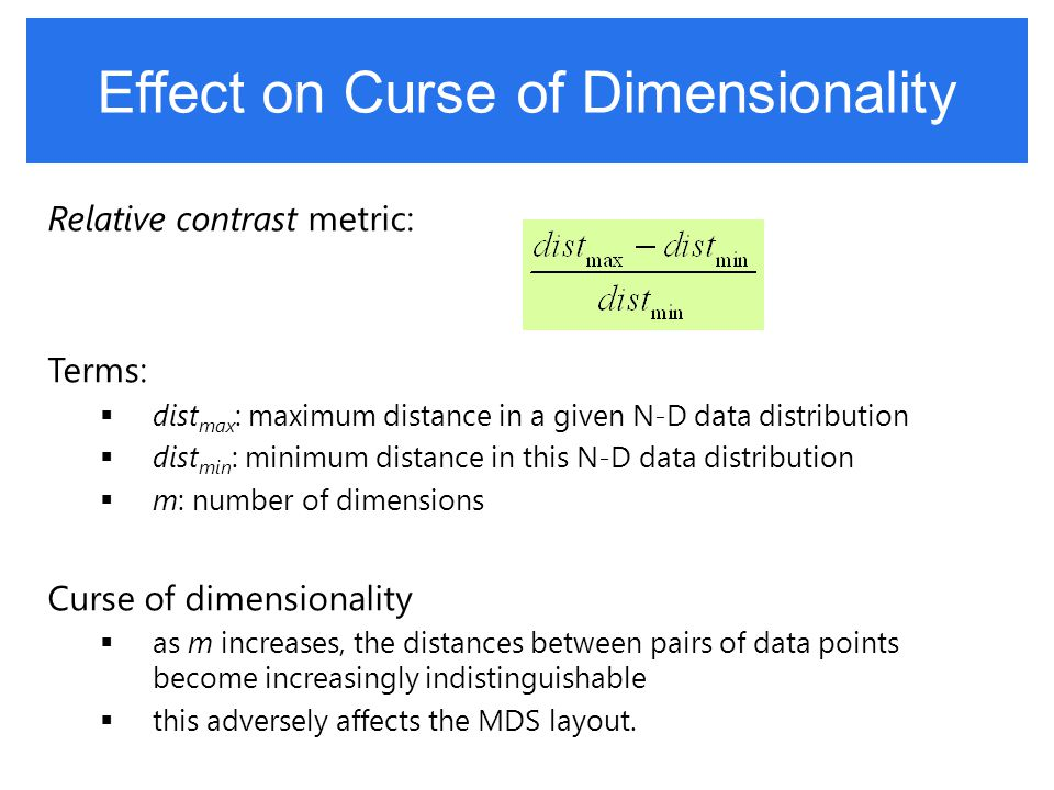 Effect on Curse of Dimensionality Relative contrast metric: Terms:  dist max : maximum distance in a given N-D data distribution  dist min : minimum
