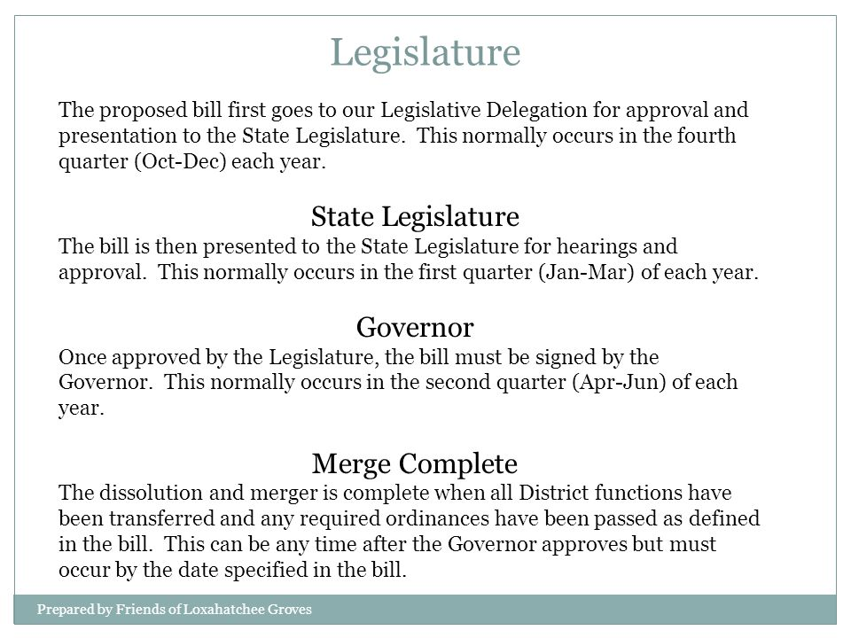 The proposed bill first goes to our Legislative Delegation for approval and presentation to the State Legislature. This normally occurs in the fourth