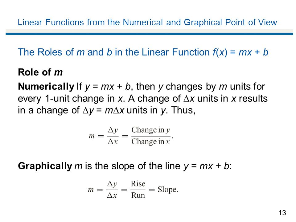 13 Linear Functions from the Numerical and Graphical Point of View The Roles of m and b in the Linear Function f (x) = mx + b Role of m Numerically If y = mx + b, then y changes by m units for every 1-unit change in x.