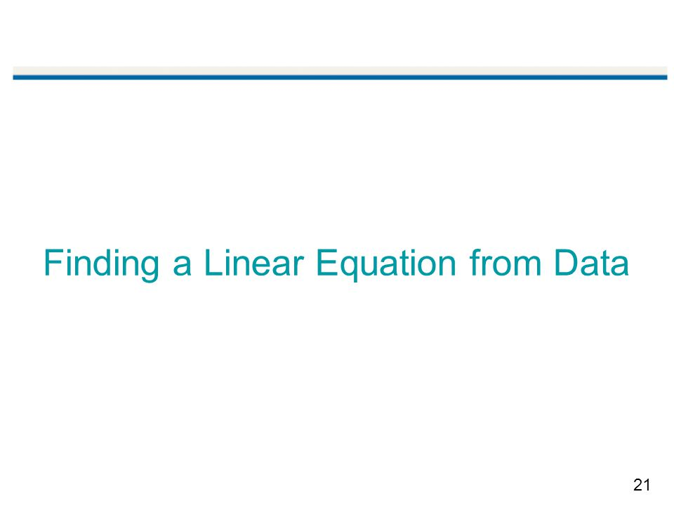 21 Finding a Linear Equation from Data
