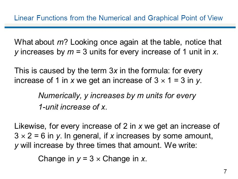 7 Linear Functions from the Numerical and Graphical Point of View What about m.