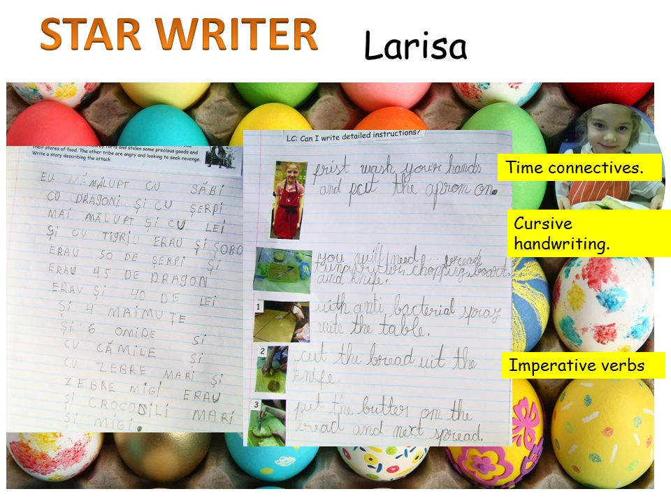 Larisa Time connectives. Imperative verbs Cursive handwriting.