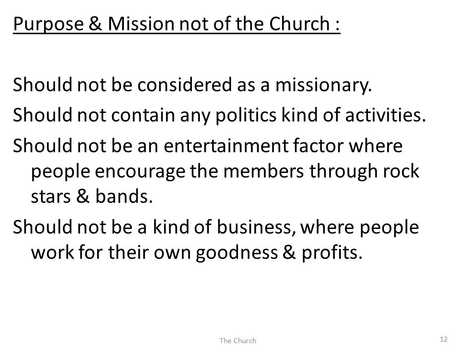Purpose & Mission not of the Church : Should not be considered as a missionary. Should not contain any politics kind of activities. Should not be an e