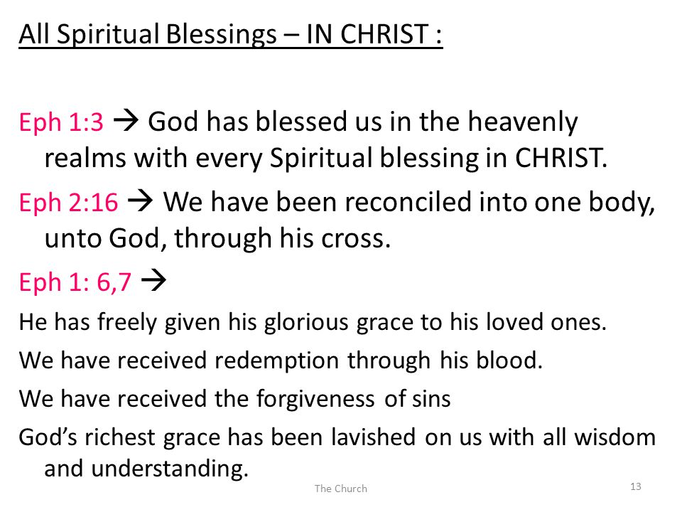 All Spiritual Blessings – IN CHRIST : Eph 1:3  God has blessed us in the heavenly realms with every Spiritual blessing in CHRIST.
