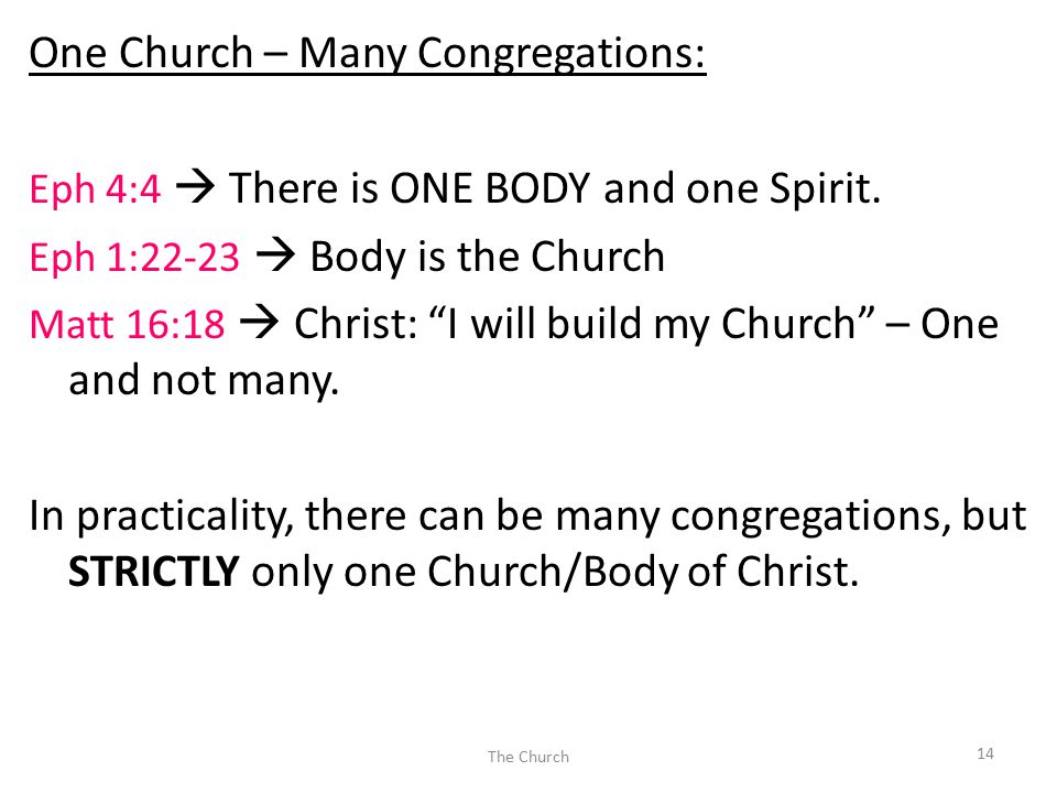 "One Church – Many Congregations: Eph 4:4  There is ONE BODY and one Spirit. Eph 1:22-23  Body is the Church Matt 16:18  Christ: ""I will build my Ch"
