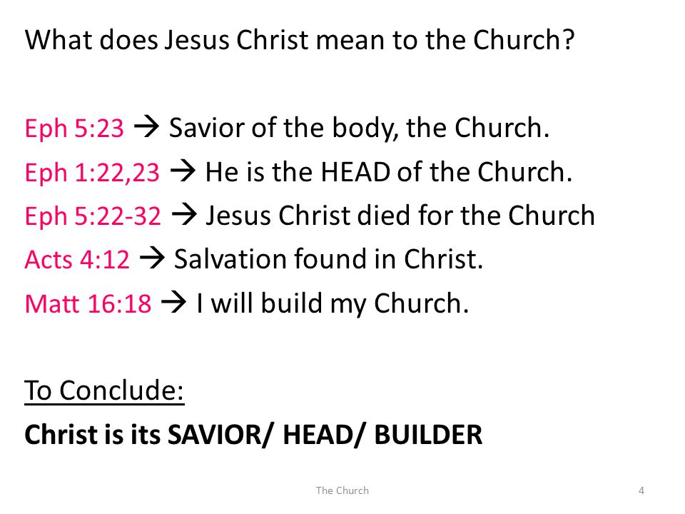 What does Jesus Christ mean to the Church? Eph 5:23  Savior of the body, the Church. Eph 1:22,23  He is the HEAD of the Church. Eph 5:22-32  Jesus