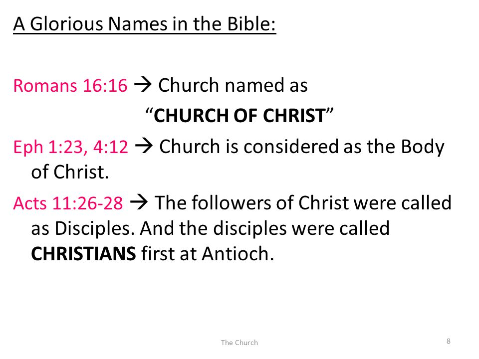 "A Glorious Names in the Bible: Romans 16:16  Church named as ""CHURCH OF CHRIST"" Eph 1:23, 4:12  Church is considered as the Body of Christ. Acts 11:"
