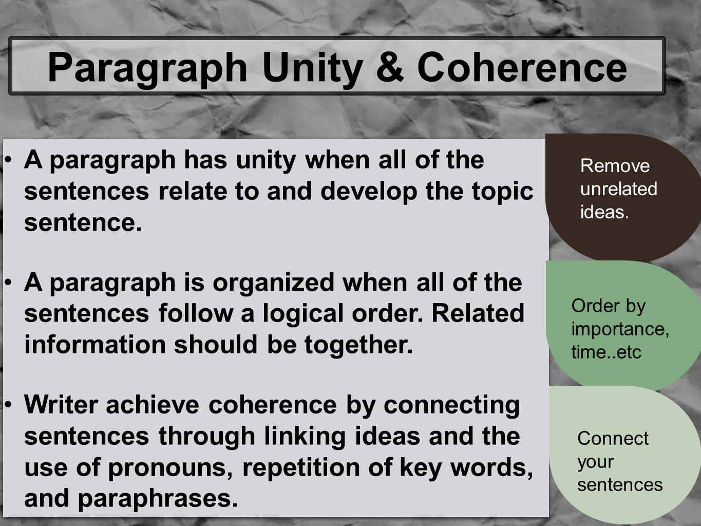 A paragraph has unity when all of the sentences relate to and develop the topic sentence.