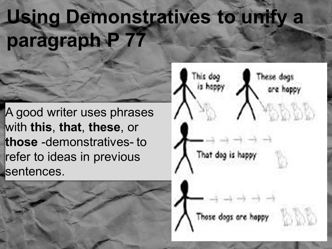Using Demonstratives to unify a paragraph P 77 A good writer uses phrases with this, that, these, or those -demonstratives- to refer to ideas in previous sentences.