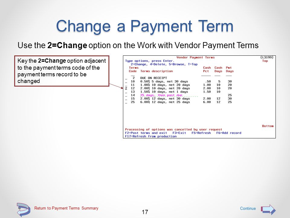 Change a Payment Term Provides the ability for a user to make changes to the contents of a specific vendor payment terms record This function may also be used to delete an active payment term 16