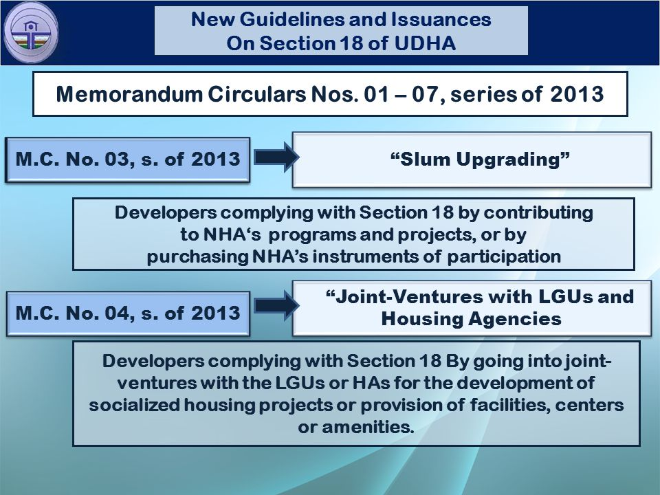 FOR CONDOMINIUM PROJECTS Sample Computation Proposed Amendments to Section 18 of UDHA Average No.