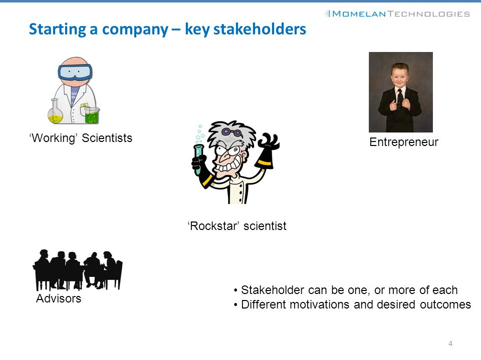 Starting a company – key stakeholders 4 'Rockstar' scientist 'Working' Scientists Entrepreneur Advisors Stakeholder can be one, or more of each Differ