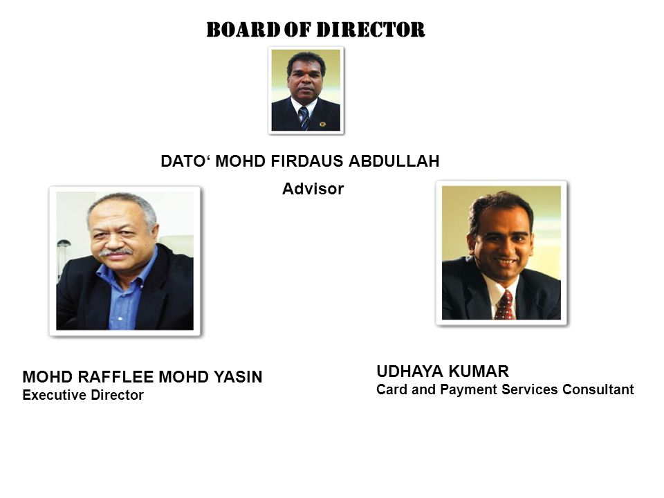 Board of Director DATO' MOHD FIRDAUS ABDULLAH Advisor MOHD RAFFLEE MOHD YASIN Executive Director UDHAYA KUMAR Card and Payment Services Consultant