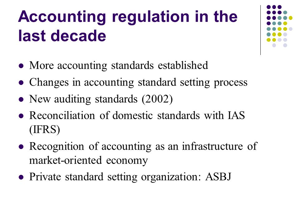 Accounting regulation in the last decade More accounting standards established Changes in accounting standard setting process New auditing standards (