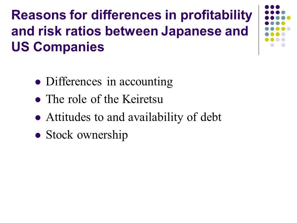 Reasons for differences in profitability and risk ratios between Japanese and US Companies Differences in accounting The role of the Keiretsu Attitude