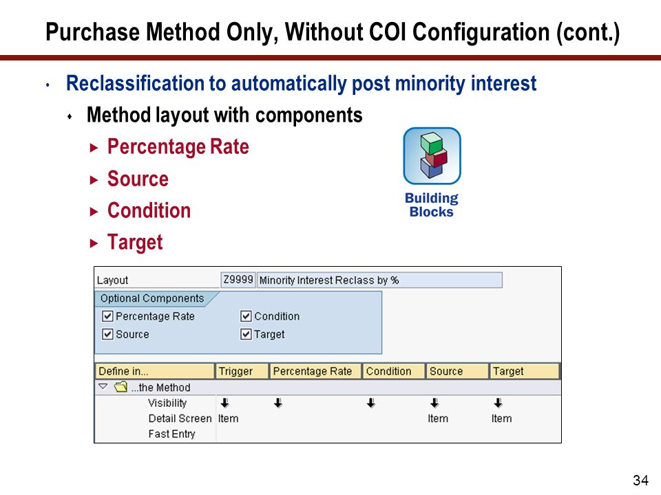 34 Purchase Method Only, Without COI Configuration (cont.) Reclassification to automatically post minority interest  Method layout with components  Percentage Rate  Source  Condition  Target