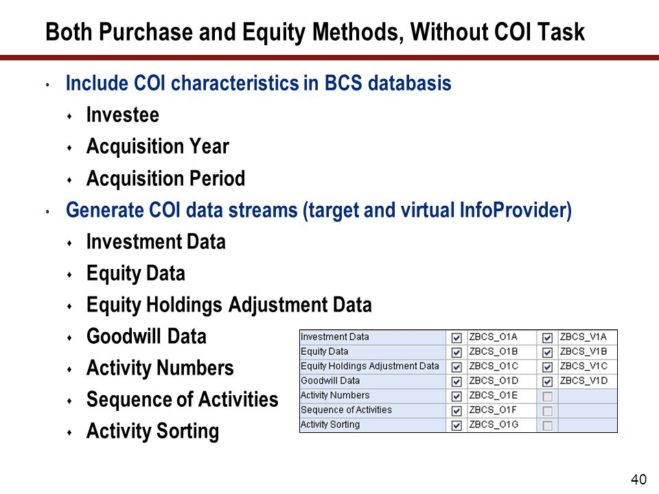 40 Both Purchase and Equity Methods, Without COI Task Include COI characteristics in BCS databasis  Investee  Acquisition Year  Acquisition Period Generate COI data streams (target and virtual InfoProvider)  Investment Data  Equity Data  Equity Holdings Adjustment Data  Goodwill Data  Activity Numbers  Sequence of Activities  Activity Sorting