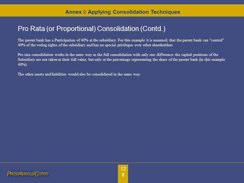 128 Pro Rata (or Proportional) Consolidation (Contd.) The parent bank has a Participation of 40% at the subsidiary. For this example it is assumed, th