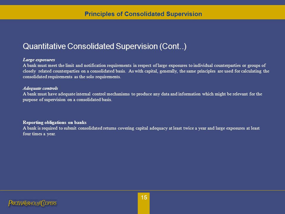 15 Quantitative Consolidated Supervision (Cont..) Large exposures A bank must meet the limit and notification requirements in respect of large exposur