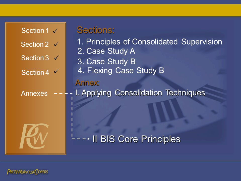 4. Flexing Case Study B Section 3 Section 2 Section 4 2. Case Study A 3. Case Study B Sections: 1. Principles of Consolidated Supervision Annex: I. Ap
