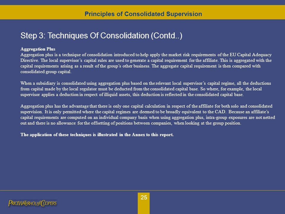 25 Step 3: Techniques Of Consolidation (Contd..) Aggregation Plus Aggregation plus is a technique of consolidation introduced to help apply the market