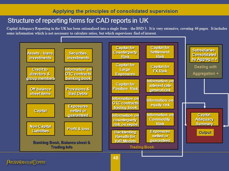 48 Structure of reporting forms for CAD reports in UK Capital Adequacy Reporting in the UK has been rationalised into a single form - the BSD 3. It is