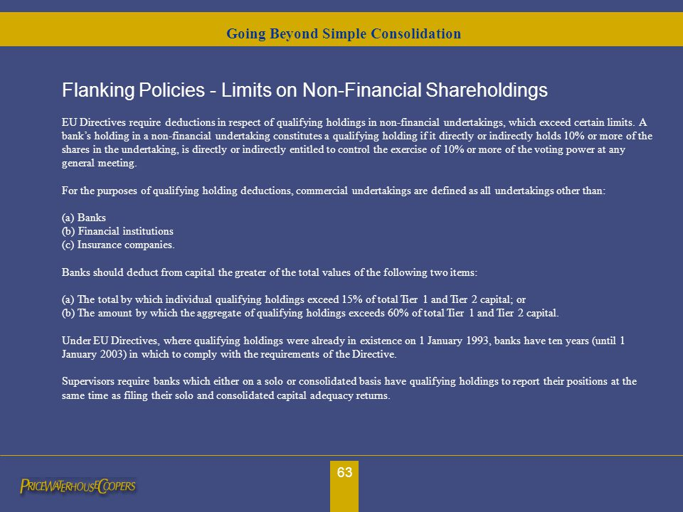 63 Flanking Policies - Limits on Non-Financial Shareholdings EU Directives require deductions in respect of qualifying holdings in non-financial under