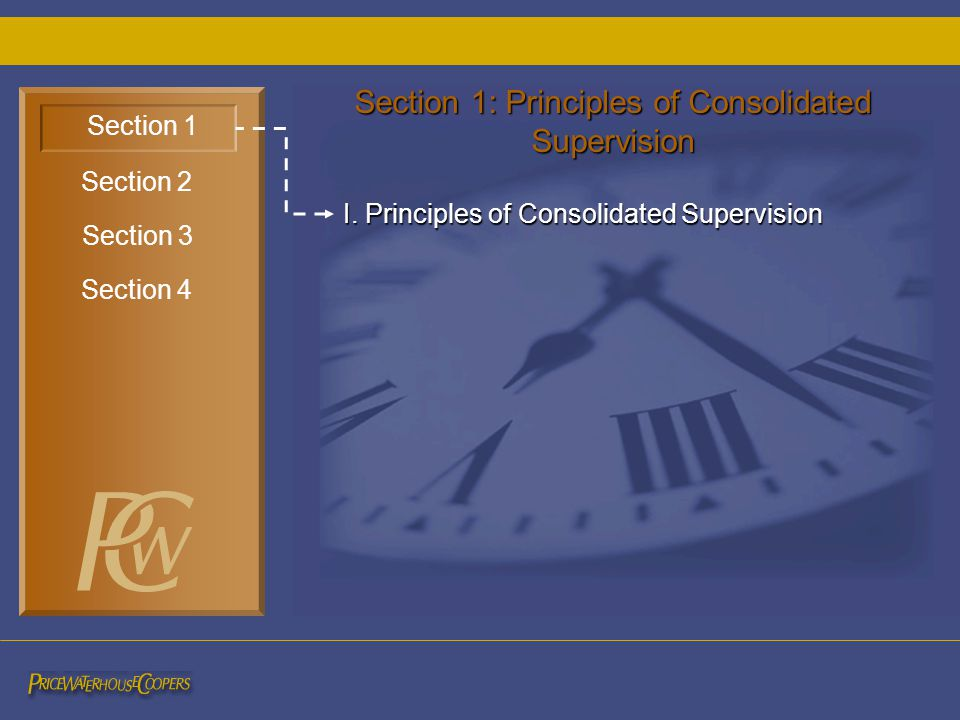 I. Principles of Consolidated Supervision Section 1 Section 3 Section 2 Section 4 Section 1: Principles of Consolidated Supervision