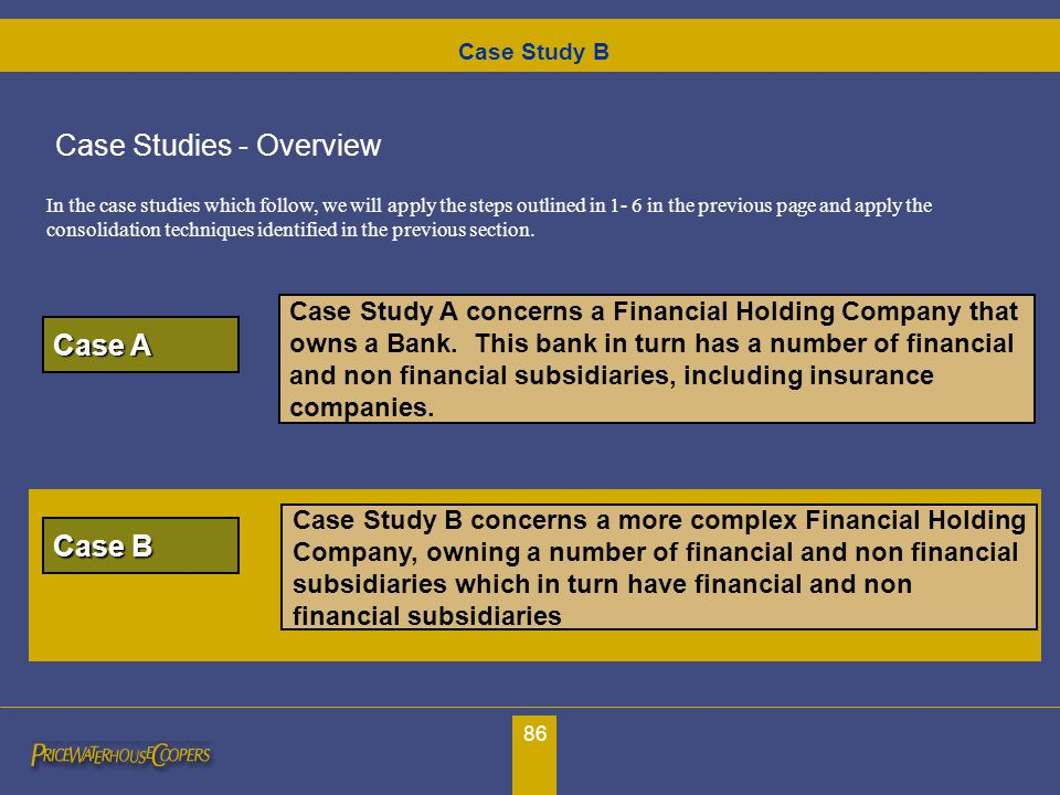 86 Case Study A concerns a Financial Holding Company that owns a Bank. This bank in turn has a number of financial and non financial subsidiaries, inc