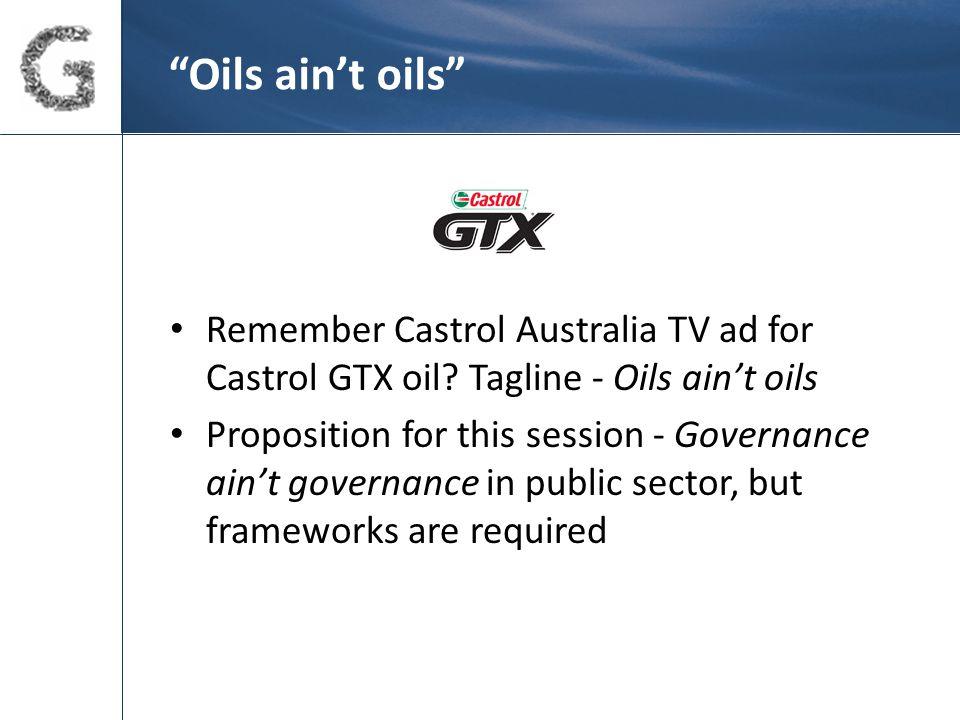Oils ain't oils Remember Castrol Australia TV ad for Castrol GTX oil.