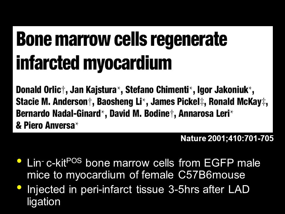 Lin - c-kit POS bone marrow cells from EGFP male mice to myocardium of female C57B6mouse Injected in peri-infarct tissue 3-5hrs after LAD ligation Nat