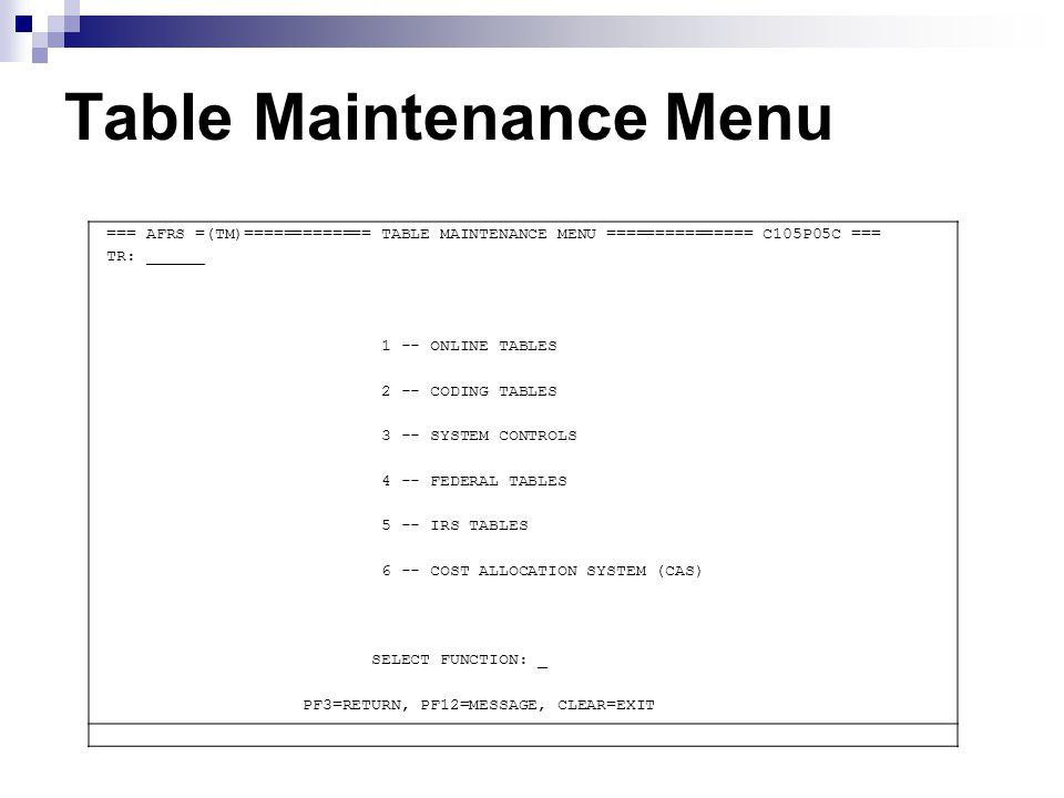 Table Maintenance Menu === AFRS =(TM)============= TABLE MAINTENANCE MENU =============== C105P05C === TR: ______ 1 -- ONLINE TABLES 2 -- CODING TABLE
