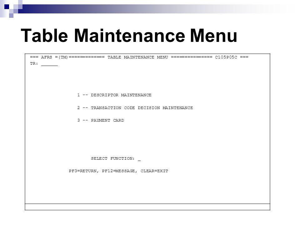 Table Maintenance Menu === AFRS =(TM)============= TABLE MAINTENANCE MENU =============== C105P05C === TR: ______ 1 -- DESCRIPTOR MAINTENANCE 2 -- TRA