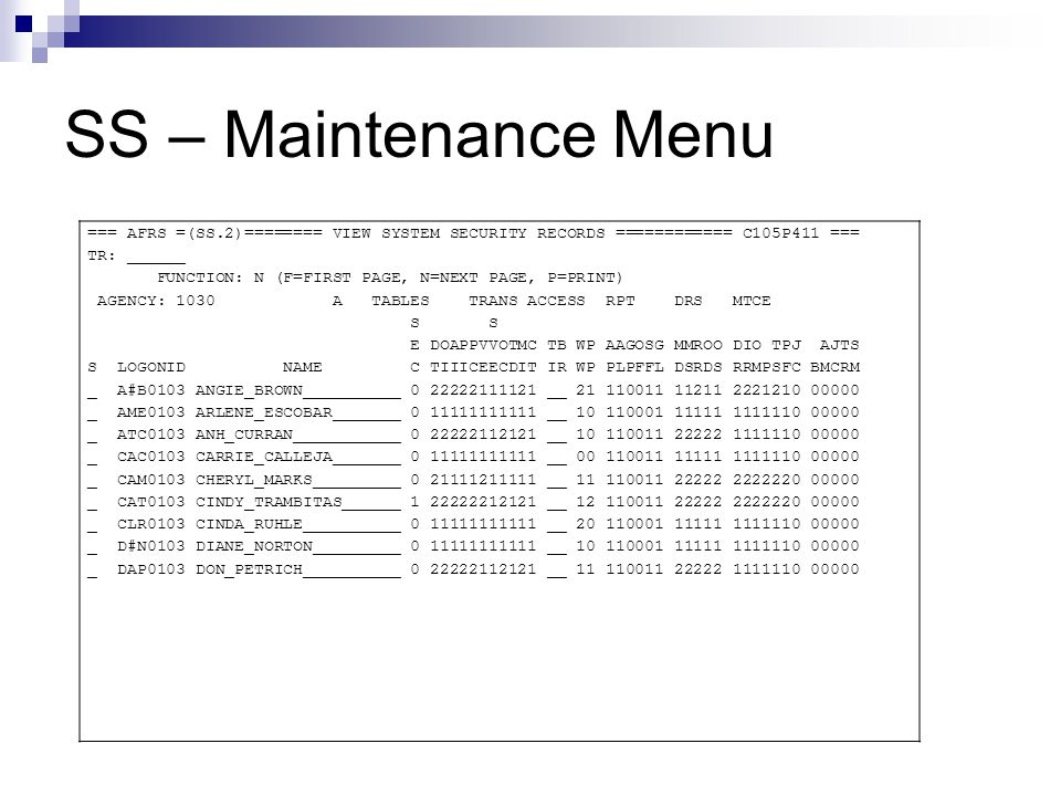 SS – Maintenance Menu === AFRS =(SS.2)======== VIEW SYSTEM SECURITY RECORDS ============ C105P411 === TR: ______ FUNCTION: N (F=FIRST PAGE, N=NEXT PAG