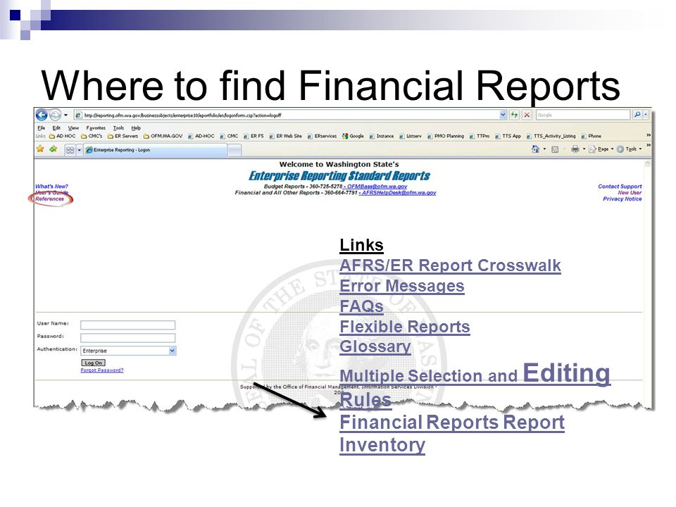 Where to find Financial Reports Links AFRS/ER Report Crosswalk Error Messages FAQs Flexible Reports Glossary Multiple Selection and Editing Rules Fina