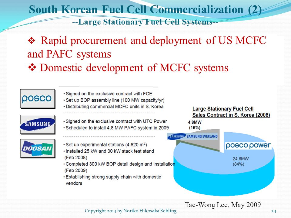 South Korean Fuel Cell Commercialization (2) --Large Stationary Fuel Cell Systems-- Copyright 2014 by Noriko Hikosaka Behling Tae-Wong Lee, May 2009  Rapid  Rapid procurement and deployment of US MCFC and PAFC systems  Domestic development of MCFC systems 24