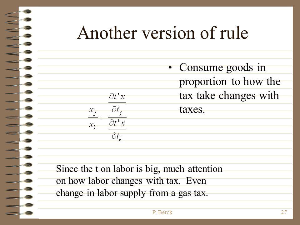 P. Berck26 Tax Rule