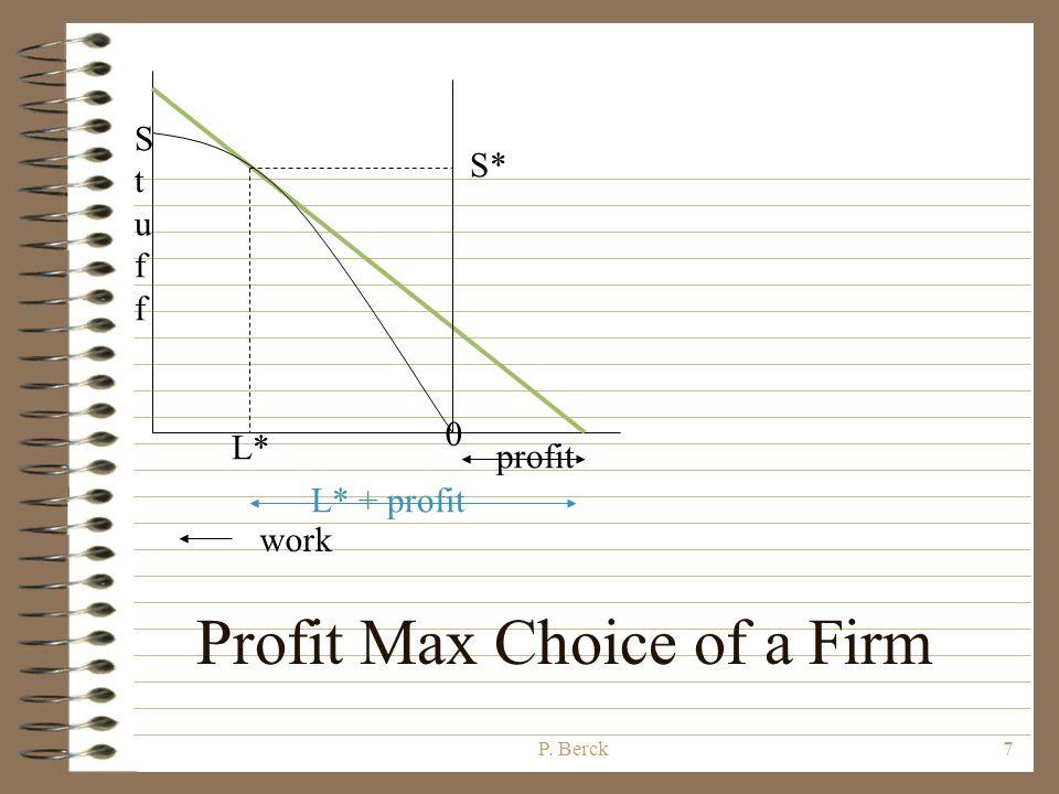 P. Berck6 StuffStuff 0 work L* S* L* + x x P S* = L* + profit (def.